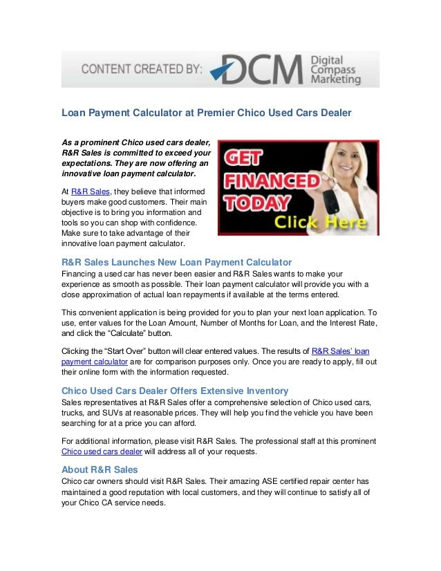 Loan Payment Calculator At Premier Chico Used Cars Dealer