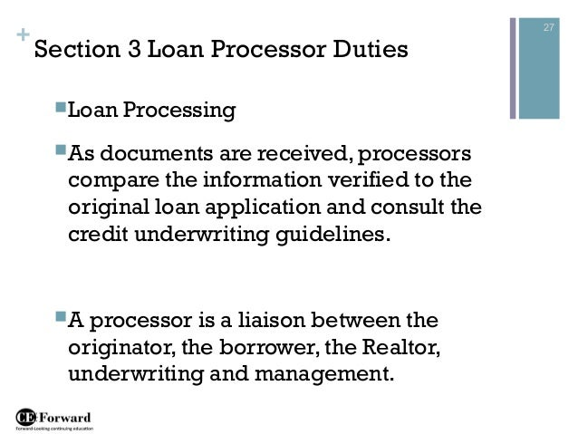 27 Section 3 Loan Processor Duties