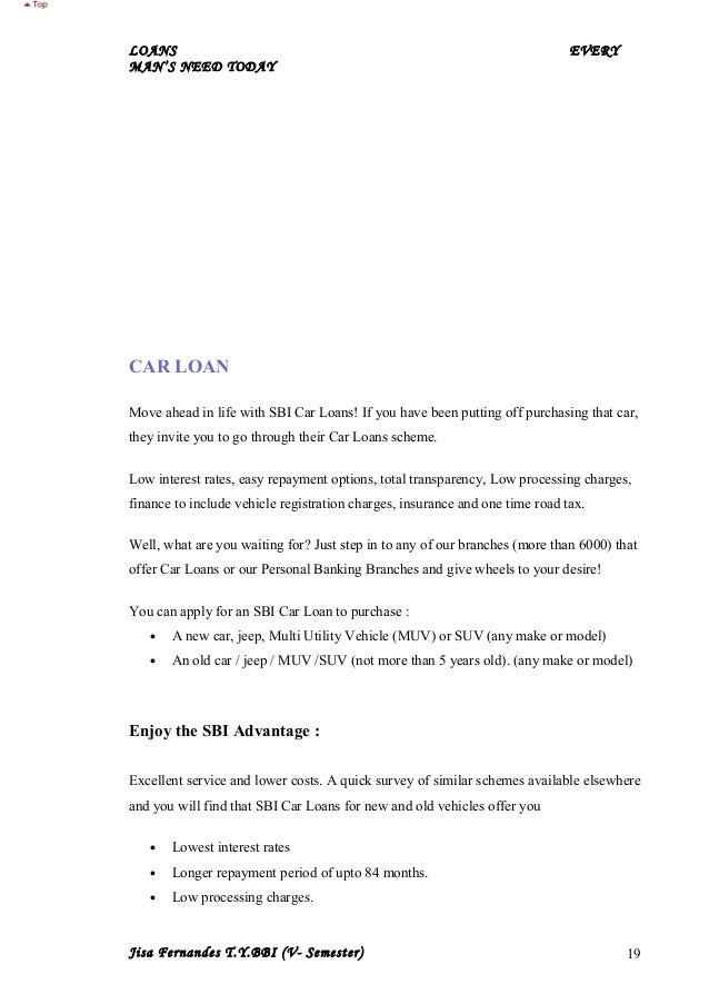 Sbi car loans