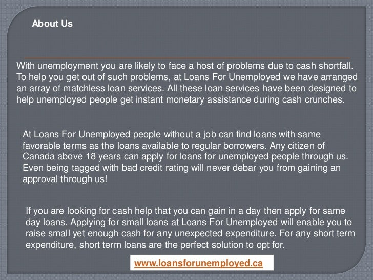 Small Quick Cash Loans For Unemployed