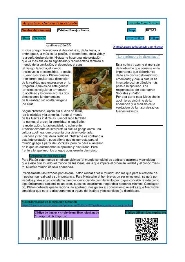 Asignatura: Historia de la Filosofía Instituto Mare Nostrum Curso 2015/16 Nombre del alumno/a Cristina Barajas Baena Grupo...