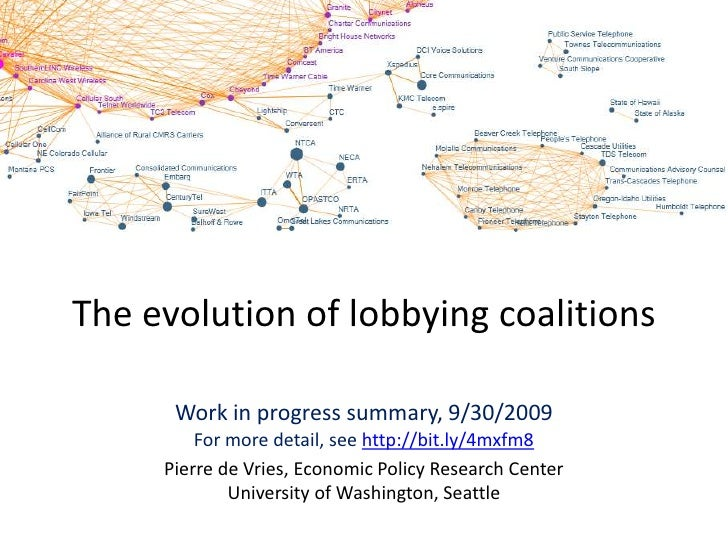 The evolution of lobbying coalitions<br />Work in progress summary, 9/30/2009For more detail, see http://bit.ly/4mxfm8<br ...