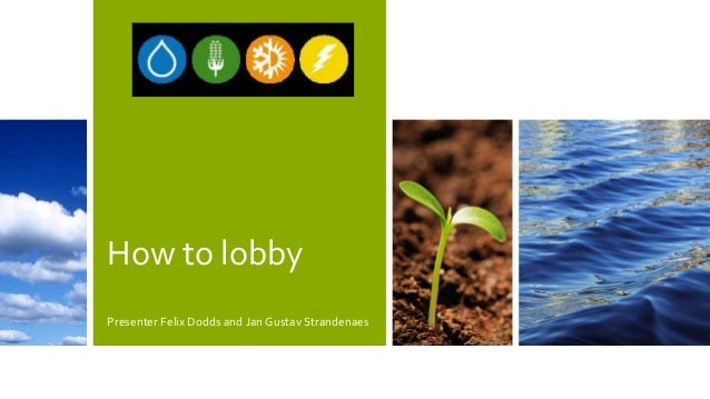 How to lobby Presenter Felix Dodds and Jan Gustav Strandenaes