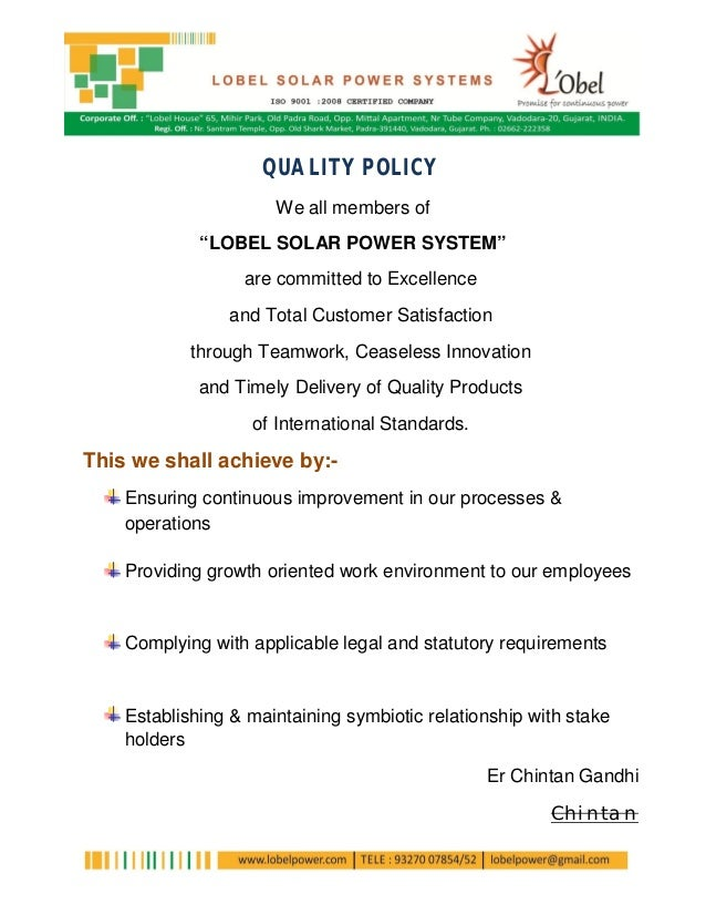 "QUALITY POLICY                      We all members of             ""LOBEL SOLAR POWER SYSTEM""                  are committe..."