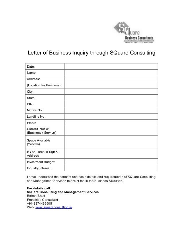 Letter of Business Inquiry – Inquiry Letter for Business