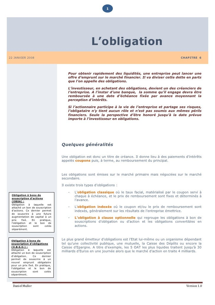 1                                                             L'obligation 22 JANVIER 2008                                ...