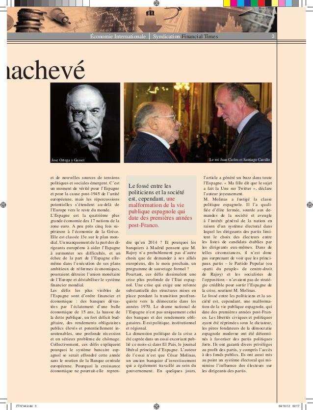Économie Internationale Syndication Financial Times 3 et de nouvelles sources de tensions politiques et sociales émergent....