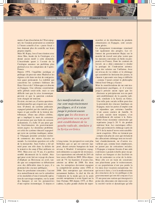 Économie Internationale Syndication Financial Times 5 moins d'une dissolution de l'Etat espag- nol, les Catalans pourraien...