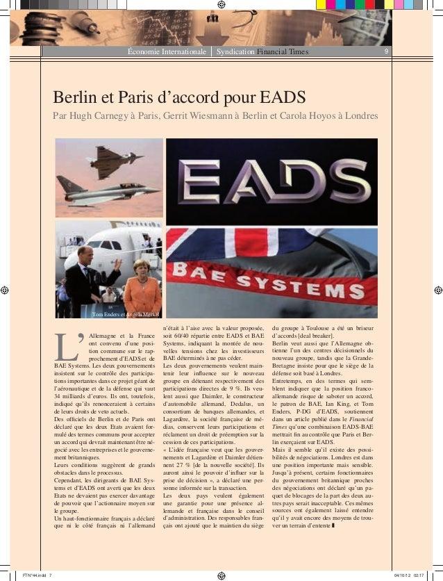 Économie Internationale Syndication Financial Times 9 Berlin et Paris d'accord pour EADS Par Hugh Carnegy à Paris, Gerrit ...