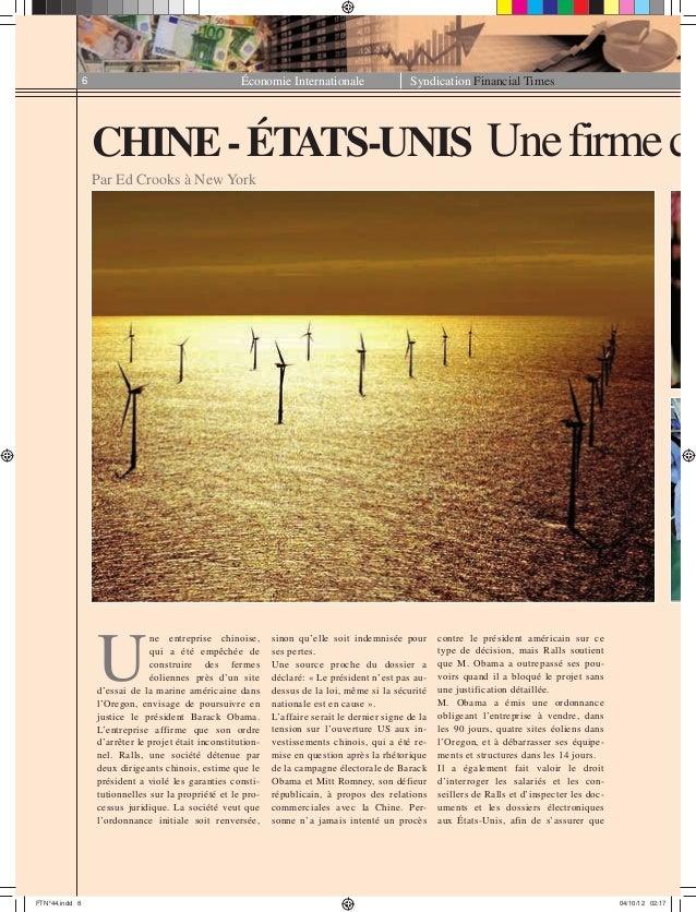 Économie Internationale Syndication Financial Times6 CHINE-ÉTATS-UNIS Unefirmec Par Ed Crooks à New York U ne entreprise c...
