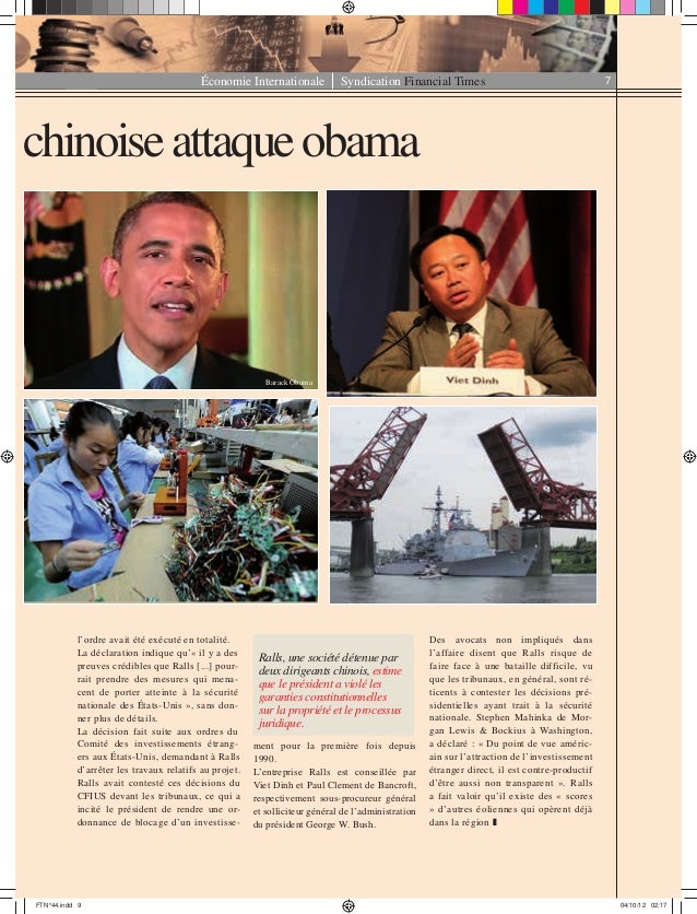 Économie Internationale Syndication Financial Times 7 chinoiseattaqueobama l'ordre avait été exécuté en totalité. La décla...
