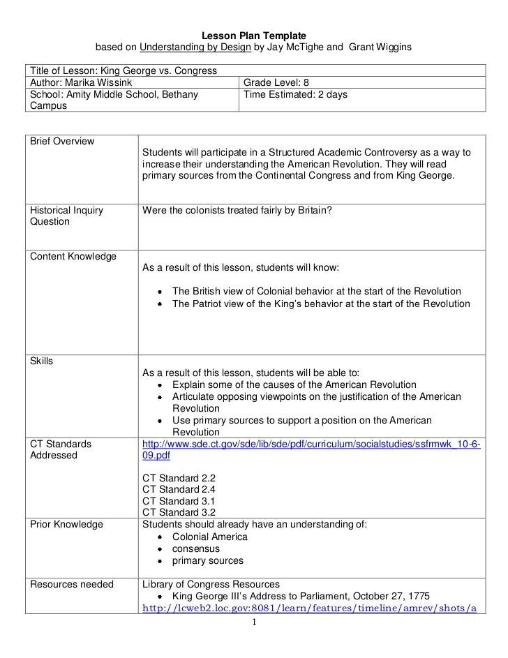 Lesson Plan Template <br />based on Understanding by Design by Jay McTighe and  Grant Wiggins<br />Title of Lesson: King G...