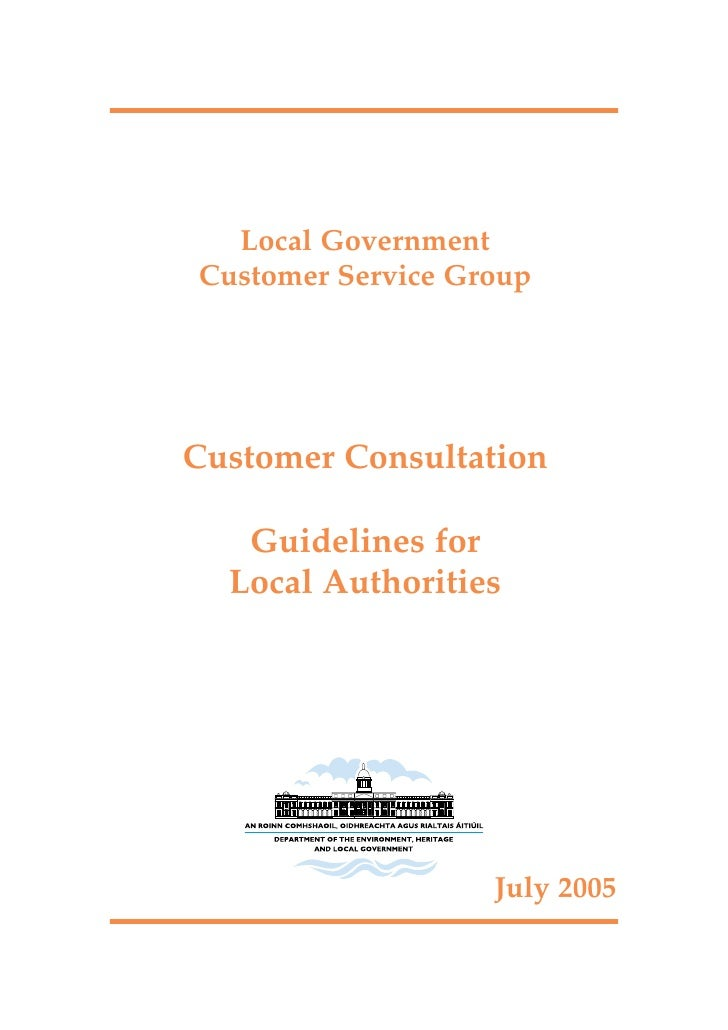 Local Government Customer Service Group     Customer Consultation     Guidelines for   Local Authorities                  ...