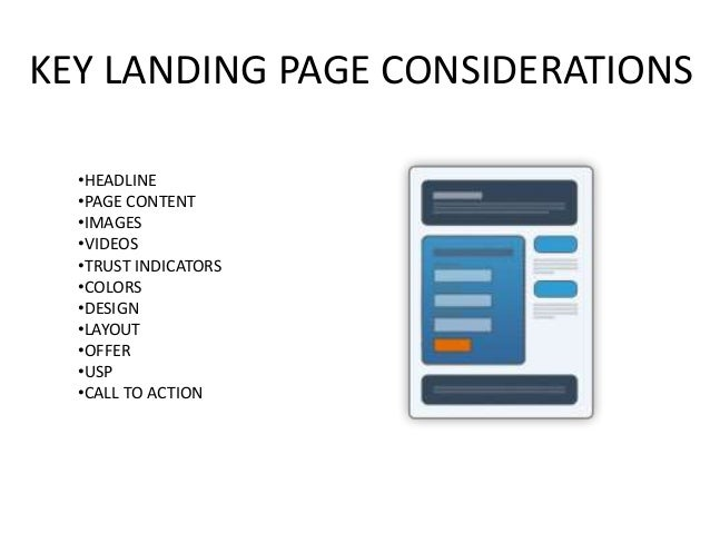 KEY LANDING PAGE CONSIDERATIONS •HEADLINE •PAGE CONTENT •IMAGES •VIDEOS •TRUST INDICATORS •COLORS •DESIGN •LAYOUT •OFFER •...