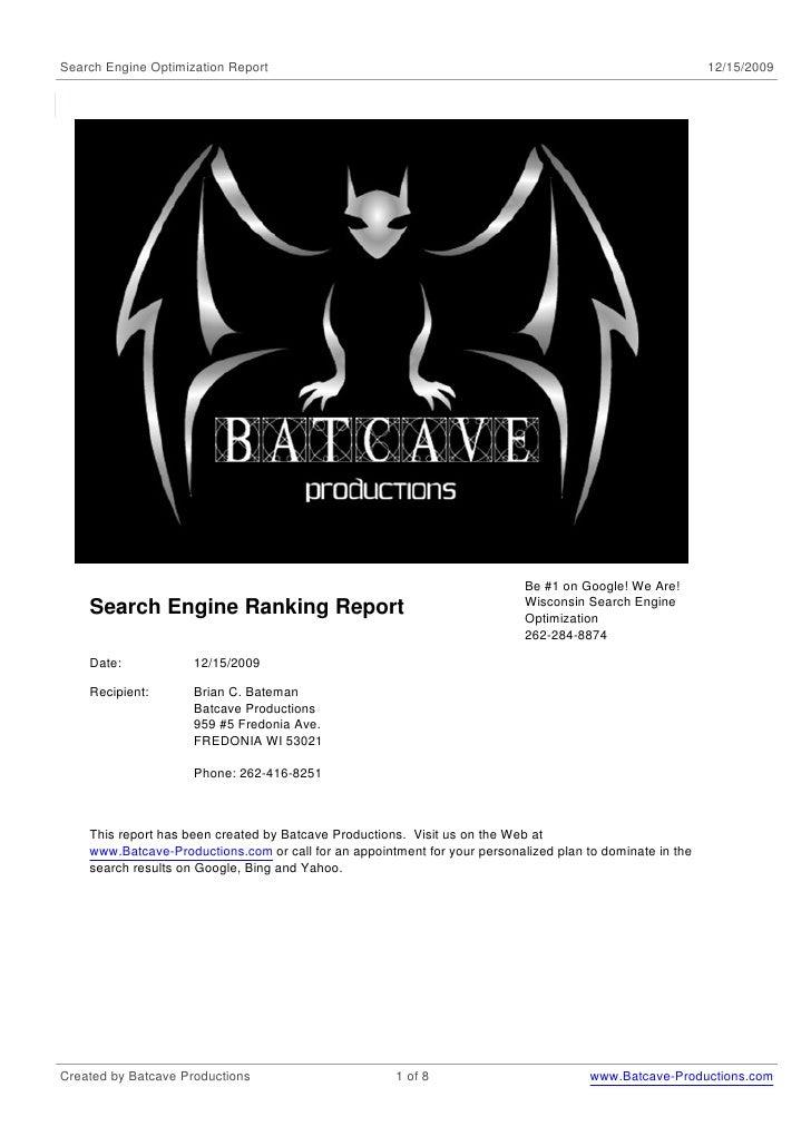 Search Engine Optimization Report                                                                          12/15/2009     ...