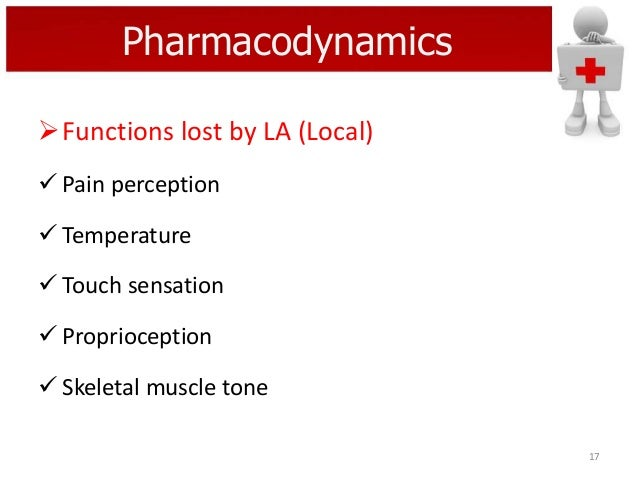 Pharmacodynamics Functions lost by LA (Local)  Pain perception  Temperature  Touch sensation  Proprioception  Skelet...