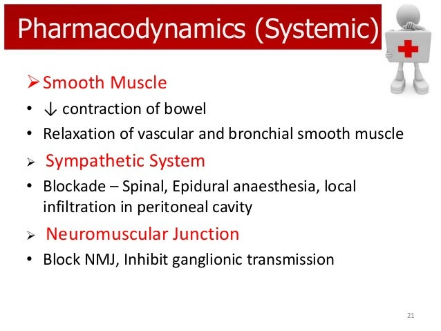 Pharmacodynamics (Systemic) Smooth Muscle • ↓ contraction of bowel • Relaxation of vascular and bronchial smooth muscle ...