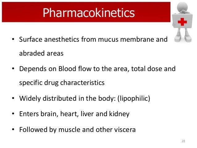 Pharmacokinetics • Surface anesthetics from mucus membrane and abraded areas • Depends on Blood flow to the area, total do...