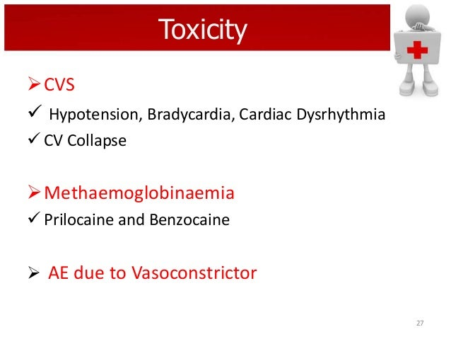 Toxicity CVS  Hypotension, Bradycardia, Cardiac Dysrhythmia  CV Collapse  Methaemoglobinaemia  Prilocaine and Benzoca...