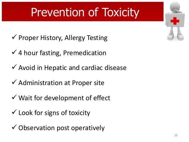 Prevention of Toxicity  Proper History, Allergy Testing   4 hour fasting, Premedication  Avoid in Hepatic and cardiac d...