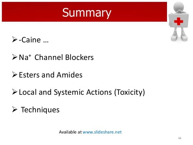 Summary -Caine …  Na+ Channel Blockers Esters and Amides  Local and Systemic Actions (Toxicity)  Techniques Available...