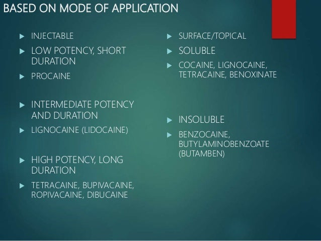 BASED ON MODE OF APPLICATION  INJECTABLE  LOW POTENCY, SHORT DURATION  PROCAINE  INTERMEDIATE POTENCY AND DURATION  L...