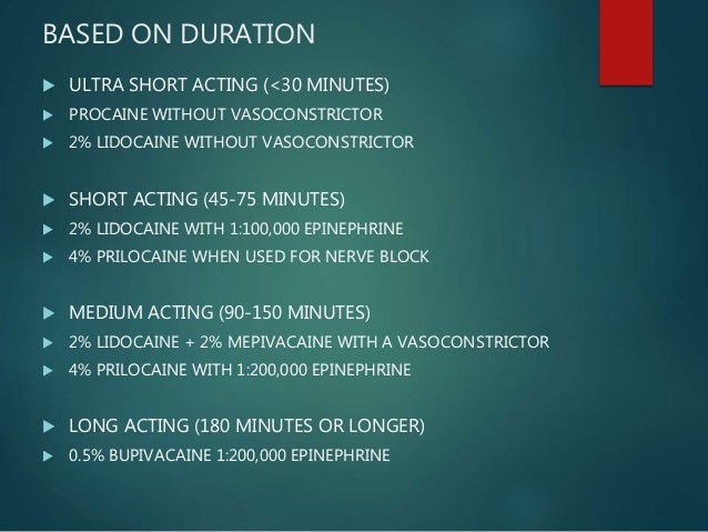 BASED ON DURATION  ULTRA SHORT ACTING (<30 MINUTES)  PROCAINE WITHOUT VASOCONSTRICTOR  2% LIDOCAINE WITHOUT VASOCONSTRI...