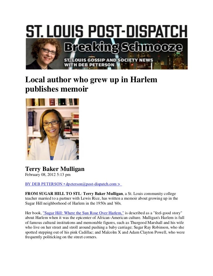 Local author who grew up in Harlempublishes memoirTerry Baker MulliganFebruary 08, 2012 5:13 pmBY DEB PETERSON • dpeterson...