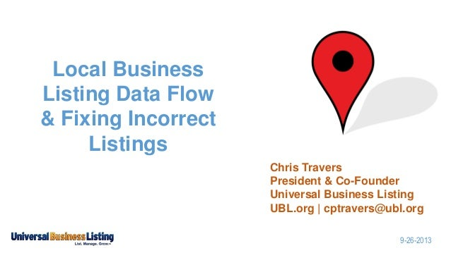 Local Business Listing Data Flow & Fixing Incorrect Listings Chris Travers President & Co-Founder Universal Business Listi...