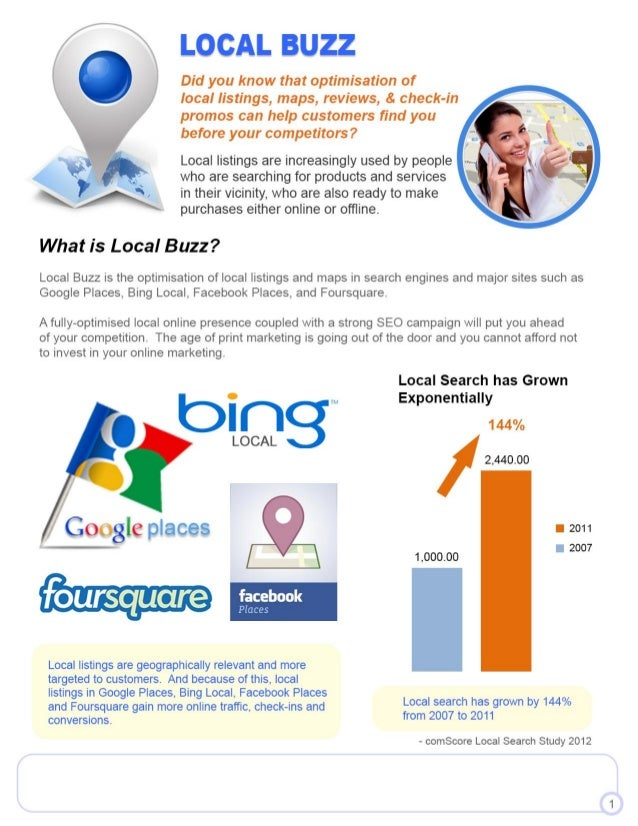 - comScore Local Search Study 2012 Local search has grown by 144% from 2007 to 2011 • 2011 • 2007 Local listings are geogr...