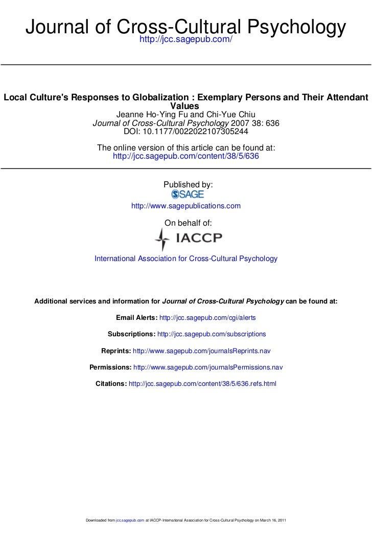 Journal of Cross-Cultural Psychology                 http://jcc.sagepub.com/Local Cultures Responses to Globalization : Ex...