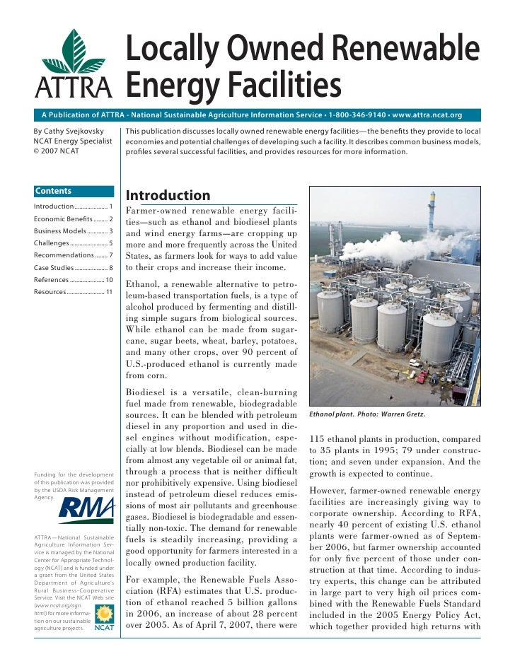Locally Owned Renewable                                        Energy Facilities   A Publication of ATTRA - National Susta...