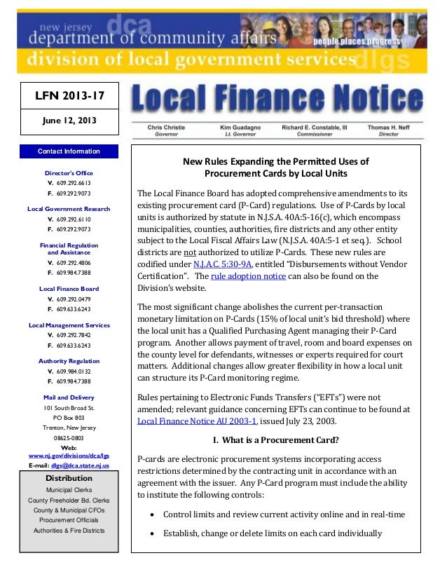 New Rules Expanding the Permitted Uses ofProcurement Cards by Local UnitsThe Local Finance Board has adopted comprehensive...