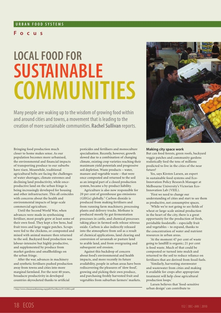 URBAN FooD SySTEMSF o c u sLoCAL FooD FoRSUSTAINABLECoMMUNITIESMany people are waking up to the wisdom of growing food wit...