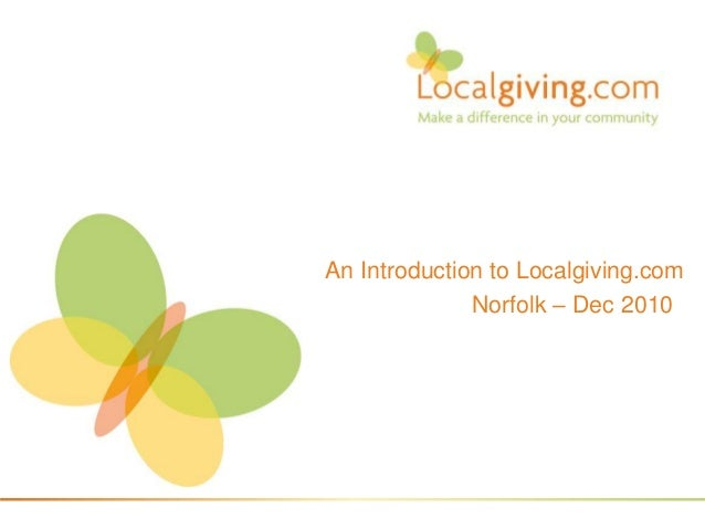 An Introduction to Localgiving.com Norfolk – Dec 2010