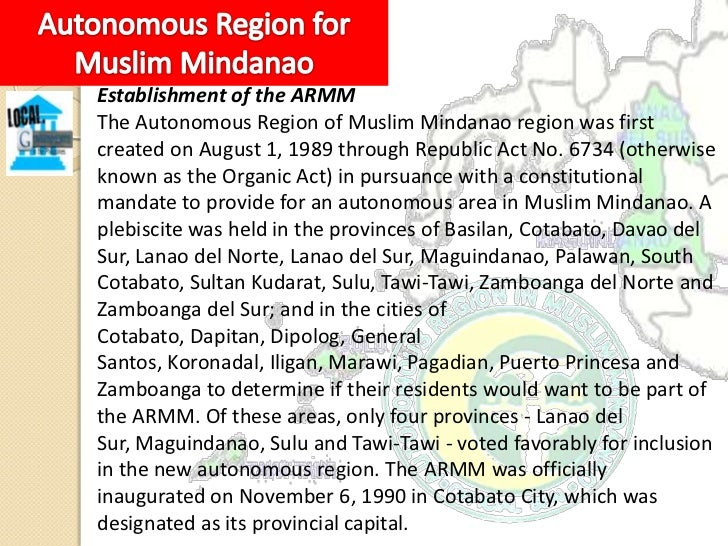 ARMM Organizational StructureExecutiveThe region is headed by a Regional Governor. The Regional Governorand Regional Vice ...