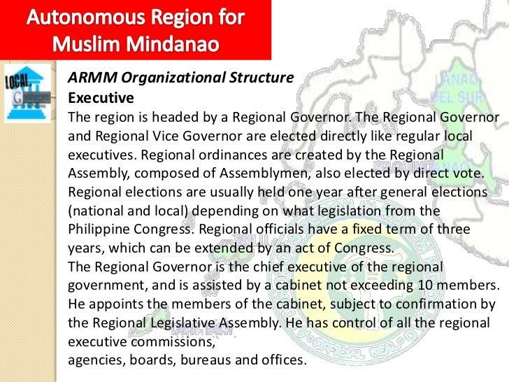 LegislativeThe ARMM has a unicameral Regional Legislative Assemblyheaded by a Speaker. It is composed of three members for...