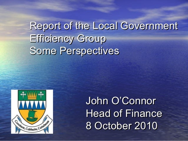 Report of the Local GovernmentReport of the Local Government Efficiency GroupEfficiency Group Some PerspectivesSome Perspe...