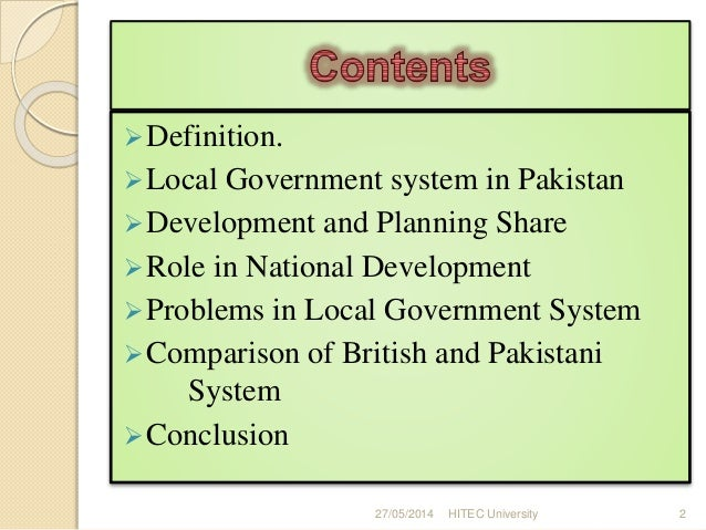 Local government problems in pakistan essay
