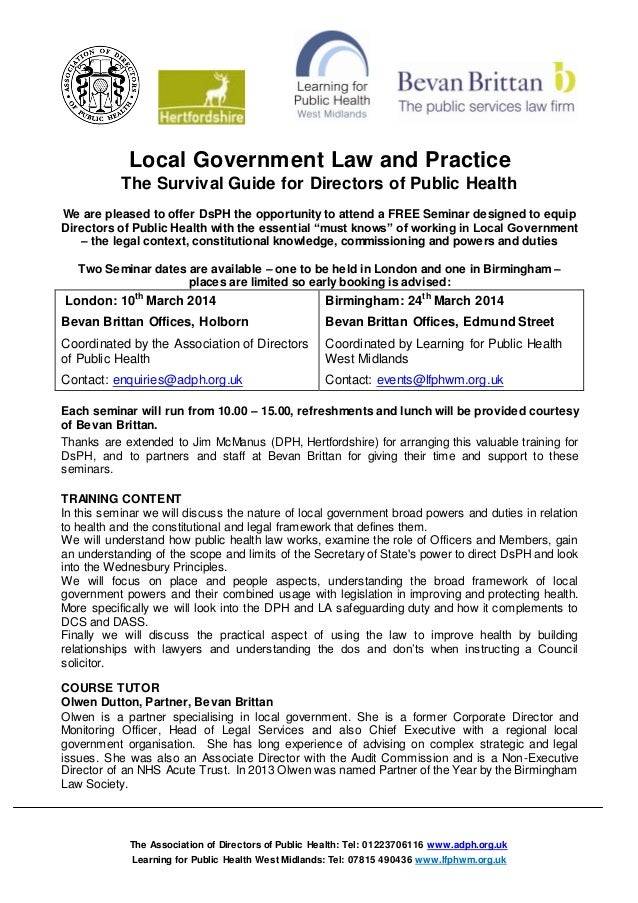 Local Government Law and Practice The Survival Guide for Directors of Public Health We are pleased to offer DsPH the oppor...