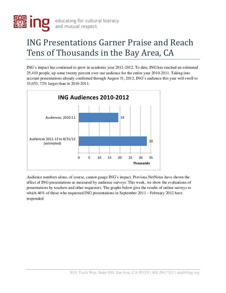 INGPresentationsGarnerPraiseandReachTensofThousandsintheBayArea,CAING's impact has continued to grow in acad...