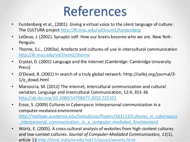 References • •  • • • •  •  •  Furstenberg et al., (2001). Giving a virtual voice to the silent language of culture: The C...