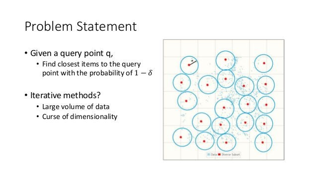 Problem Statement • Given a query point q, • Find closest items to the query point with the probability of 1 − 𝛿 • Iterati...