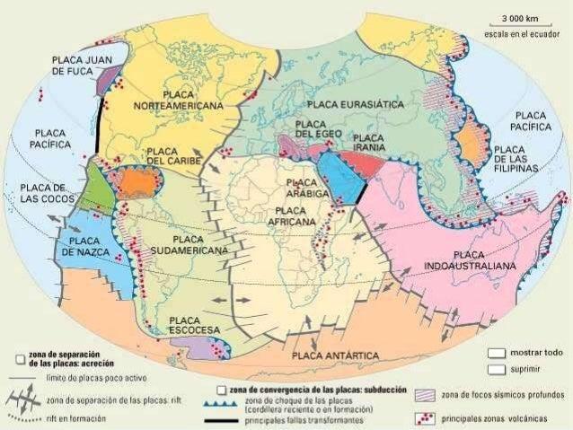 Localizacin de las placas tectnicas de la tierra