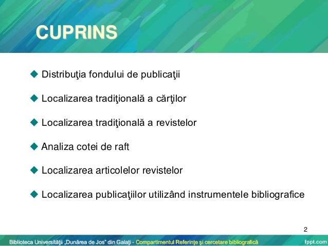 Localizarea traditionala a publicatiilor in biblioteca Slide 2
