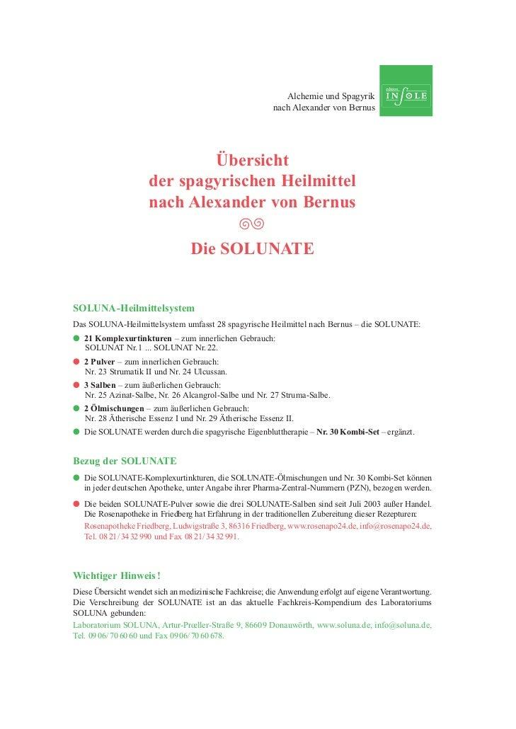 Alchemie und Spagyrik                                                         nach Alexander von Bernus                   ...