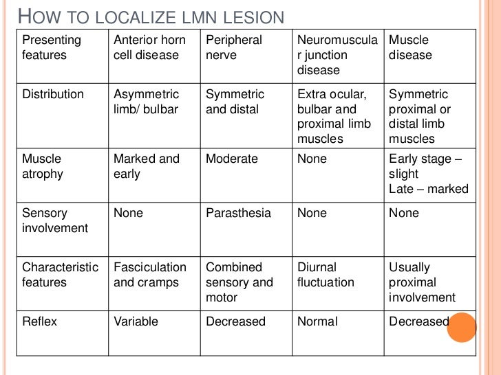 HOW TO LOCALIZE LMN LESIONPresenting       Anterior horn   Peripheral    Neuromuscula Musclefeatures         cell disease ...