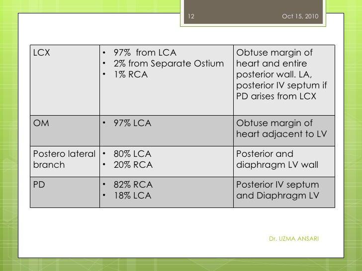 Dr. UZMA ANSARI Oct 15, 2010 LCX <ul><li>97%  from LCA </li></ul><ul><li>2% from Separate Ostium </li></ul><ul><li>1% RCA ...