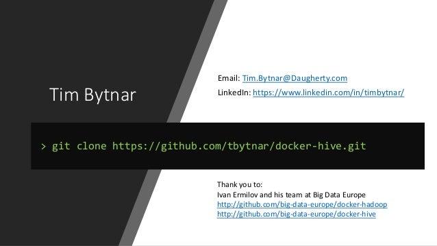Tim Bytnar Email: Tim.Bytnar@Daugherty.com LinkedIn: https://www.linkedin.com/in/timbytnar/ > git clone https://github.com...