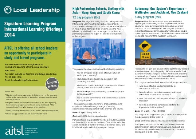 Local Leadership Signature Learning Program International Learning Offerings  2014  High Performing Schools, Linking with ...